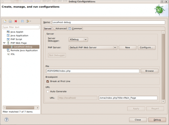 XDebug Config Dialog in Eclipse (2)